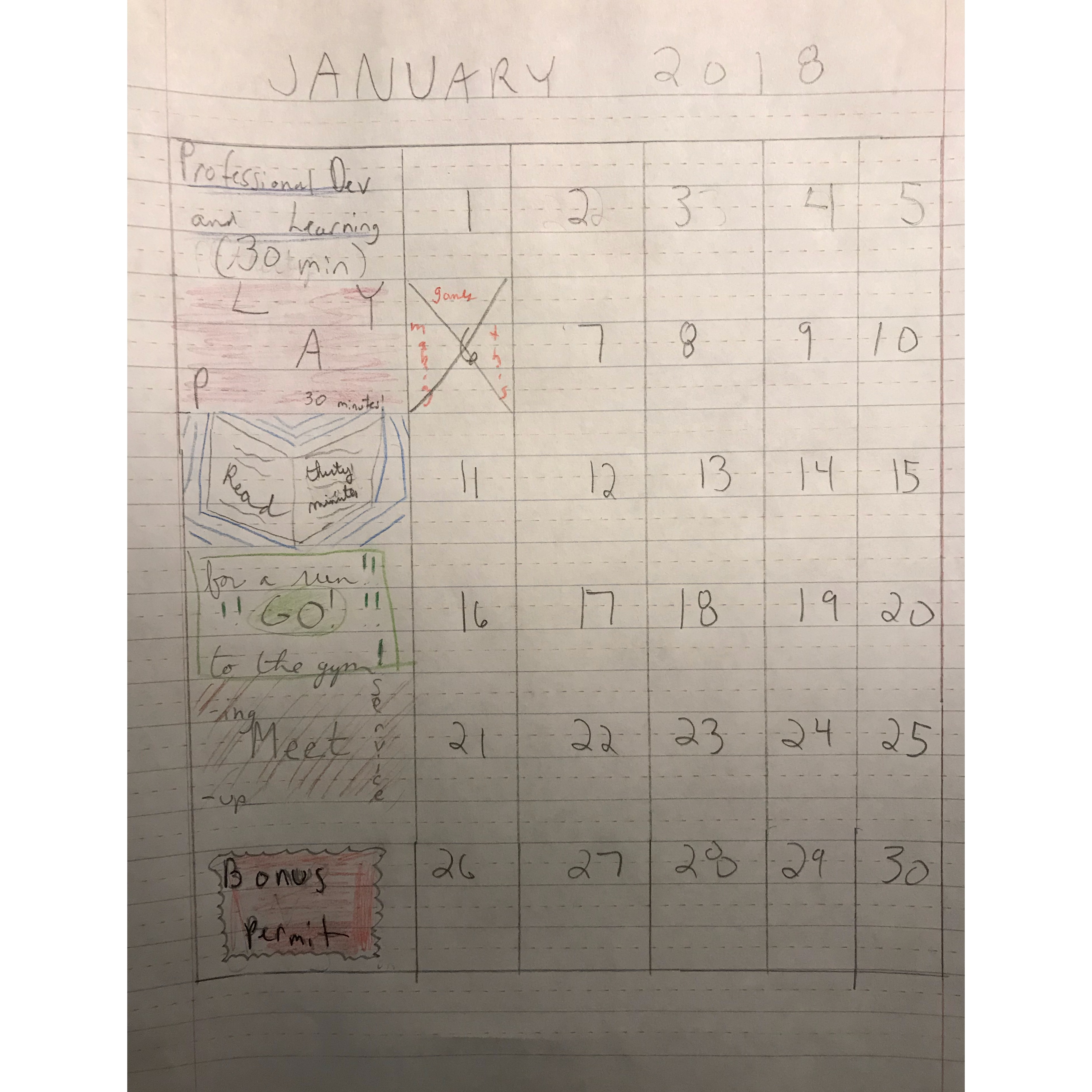 calendar for jan 2018 of the above categories drawn on handwriting paper